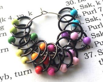 20 Knitting stitch marker rings Dark rainbow