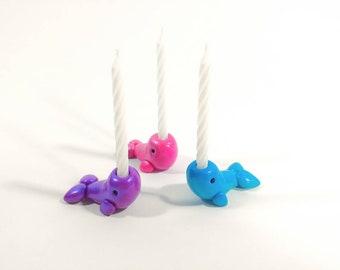 Narwhal - Birthday Candle Holder - Cake Topper - Girls Birthday - Ocean Decor - Cupcake Topper