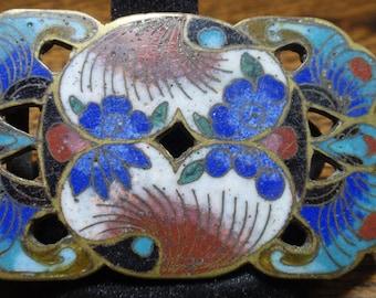 Antique Chinese Cloisonné Belt Buckle