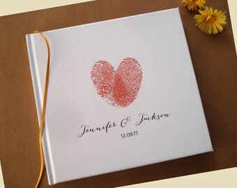 Thumbprint Heart Guest Book · Fingerprint Heart Wedding Guest Book · Custom Wedding Guest Book · Heart Thumbprint DIY Wedding Decor Budget