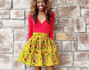 Yellow/Red/Orange Kente Ankara Skirt (XS - 6XL) Mini, Midi, Maxi