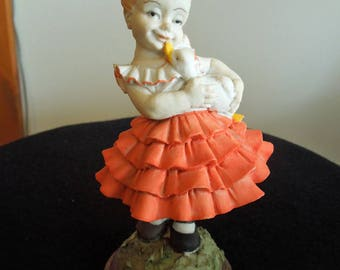 Little Girl with Pet Duck Resin Figurine