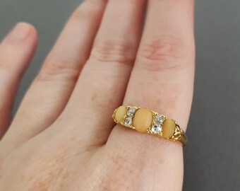 CLOSING SALE // Antique Victorian 18K Gold, Coral and Mine Cut Diamond Gypsy Ring - Wedding Band - Stacking Ring