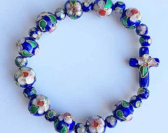 Lovely, Cloisonne' 'Cross' and Beaded Bracelet