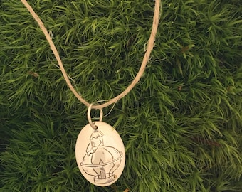 Engraved sterling necklace pendant