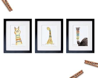 Art Print Set of 3, Dapper Animal, Gentleman Nursery Decor, Watercolor Animals, Alpaca Print, Llama Decor, Giraffe Print, Ostrich Art Print