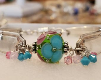 Spoon Bracelet with an Artisan Lampwork Glass Focal Bead by Katerina Sojkova Ex Restovic