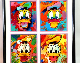Limited Edition Peter Max Disney Donald Duck Serigraph Signed Numbered