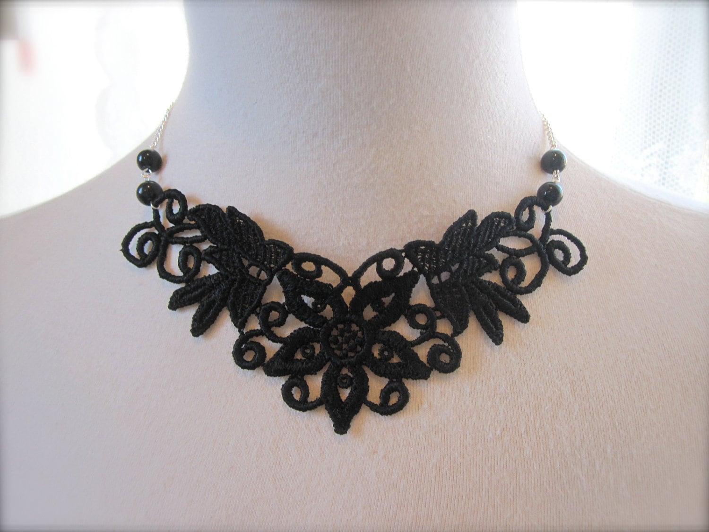 Black Lace Necklace Lace Fashion Victorian Choker Fabric