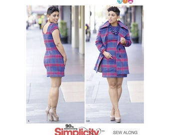 Sewing Pattern Misses' & Plus Size Mimi G's Dress and Lined Coat, Simplicity Pattern 8451, Mini G Style Latest Pattern, Tutorial avail