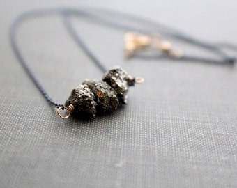 Pyrite Necklace , Dainty Gemstone Layering Necklace , Boho Necklace , Mixed Metal Pyrite Nugget Choker - Argonaut