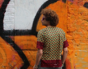 African Print Shirt - Festival Top -Hamed Top - Colourful Shirt - African Two Piece - African Shirt - Festival Clothing - Festival Shirt