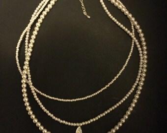 Triple Strand  Pearl Necklace with teardrop shape pendant