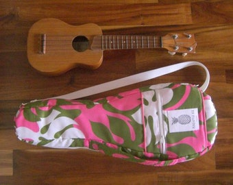 Hawaiian Ukulele Bag/Case for Soprano ukulele - Handmade in Hawaii - Hawaiian fabric