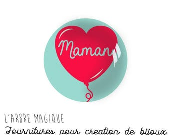 Message Mama love MOM 2 Cabochons fancy glass Ref1-18 mm Theme