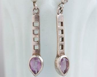Art Deco Tulips - Dangle Earrings - Sterling Silver Earrings with purple Glass stones - Vintage Jewelry