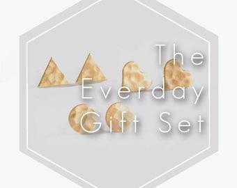 Earring Gift Set. Set of 3. Geometric Earrings. Stud Earrings. Gold Stud Earrings. Jewelry Gift Set. Minimalist Earrings. Everyday Earrings