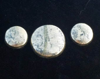 Marcasite Bright Gold Bronze Metallic Freeform Designer Cabochon Triplet Set