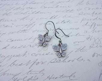 Little silver butterflies earrings