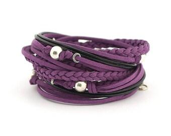 Purple Men's Boho Bracelet, faux suede violet black Bracelet, vegan bracelet, Mens Hippie style Jewelry, Mens Bohemian Jewelry, gift for him