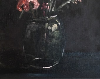 Acrylic Flower Glass Jar Painting on Canvas Panel