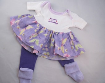 Pretty like Mommy! Adorable outfit for Bitty Baby (or other similarly sized doll). Includes dress, leggings, and matching socks.