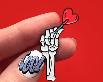 Hand With Heart Blue, enamel pin