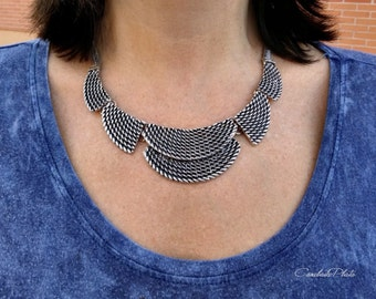 Bib necklace antique silver plated. Tribal necklace antique silver plated pewter.