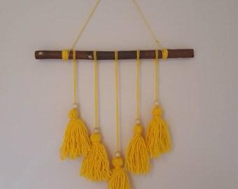 Yellow tassel boho wall hanging