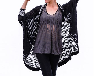 Black Sheer Kimono, Boho Cover Up, Indie Fashion, Loose Fit, Oversized Cardigan, Festival Kimono, Women's Cardigan, Black Long Top, Boho Top