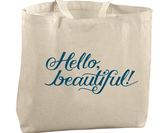 Hello Beautiful Tote Bag Gifts for Her Graduation Gifts Reusable Grocery Bags English Teacher Bags Librarian Bags Large Canvas Totes Large