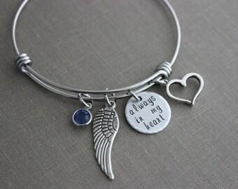 Always in my heart, stainless steel bangle bracelet with Swarovski Crystal Birthstone, Memorial jewelry, Loss bracelet, angel wing and heart