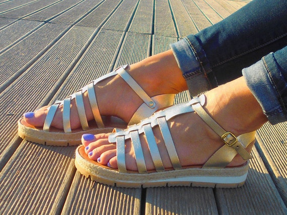 Leather Platform Strappy sandals Espadrilles Sandals sandals Sandals Leather Gladiator Greek Gold Sandals sandals 6ZSAqwg