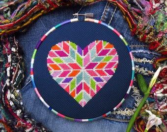 Valentines Day Geometric Heart Cross Stitch, Love Cross Stitch, Heart XStitch, Romance Cross Stitch Love, Counted Cross Stitch DIY Pattern