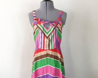 SALE Vintage 90s Sun Dress, Striped Dress, Bow Dress, Tie Dress, Party Dress, Summer Dress, Sleeveless Dress,  Size 5/6