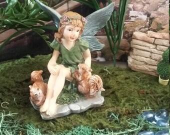 Fairy Garden Miniature Fairy with Squirrels for your Fairy Garden, Garden Fairy, Garden Pixie, Pretty Sitting Fairy