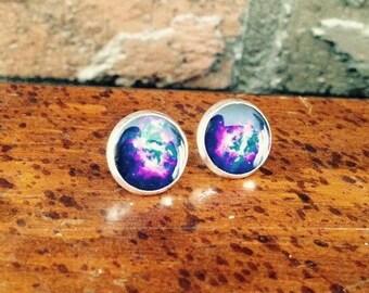 Black & Purple Galaxy post earrings
