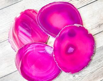 Large Pink Agate Coasters Pink Geode Coasters Set of Four - Agate Slice Geode Slice Crystal Coasters Rock Coasters Stone Coasters