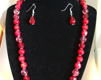 Womens Necklace , bracelet and earring set , Red, Multiple shades of Red