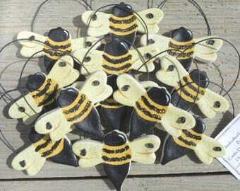 Salt Dough Bumble Bee Ornaments Set of 10