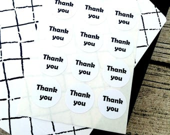 Simple thank you, Black and White thank you, Round thank you sticker,  Gift bag sticker, Thank you sticker, Thanks sticker, party favour