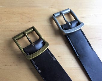 Handmade Leather Belt with Antique Finish Buckle