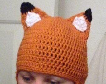 Hand Crocheted Fox Hat