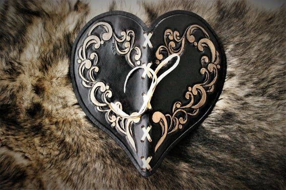 Heart shaped leather book, burlesque, victorian style