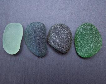 Mix of Greens Sea Glass - 4 pieces - Genuine