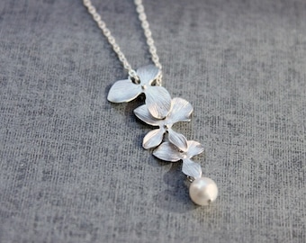 Orchid flowers and pearl Necklace - S2033-1