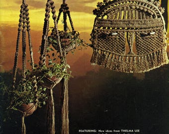 MACRAME REFLECTIONS Thelma Lee 1970s Patterns Light Fixture Cover, Hanging Sculpture, Wall Hangings, Plant Hangers