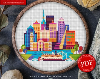 Louisville Cross Stitch Pattern for Instant Download *P175 | Easy Cross Stitch| Counted Cross Stitch|Embroidery Design| City Cross Stitch