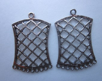 Silver Rectangle Pendants 52mm 4 Pendants