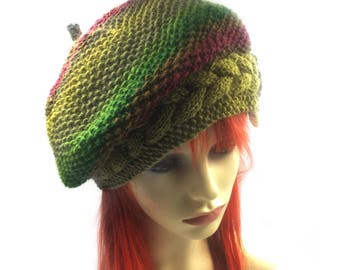 Green Slouch beanie, winter hat, pixie hat, festival hat, ladies woolly beanie, Summer hat Slouchy elven beanie Slouchy beanie